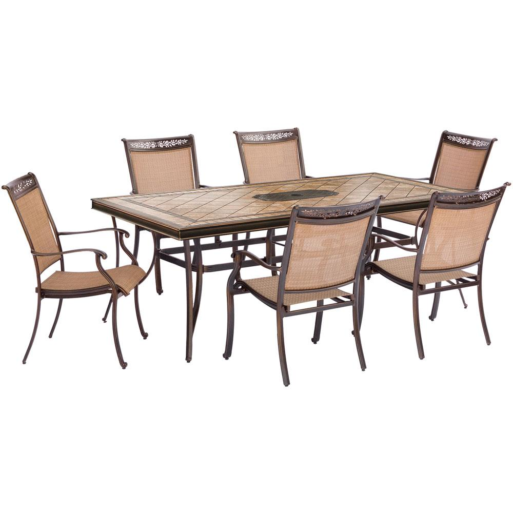 Fontana 7-Piece Aluminum Rectangular Outdoor Dining Set with Tile-Top Table