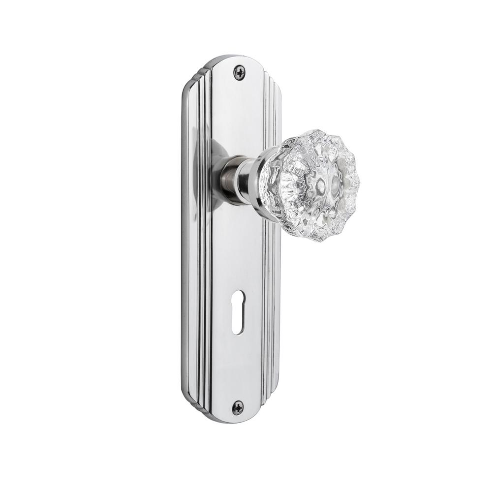 Deco Plate Interior Mortise Crystal Glass Door Knob in Bright Chrome