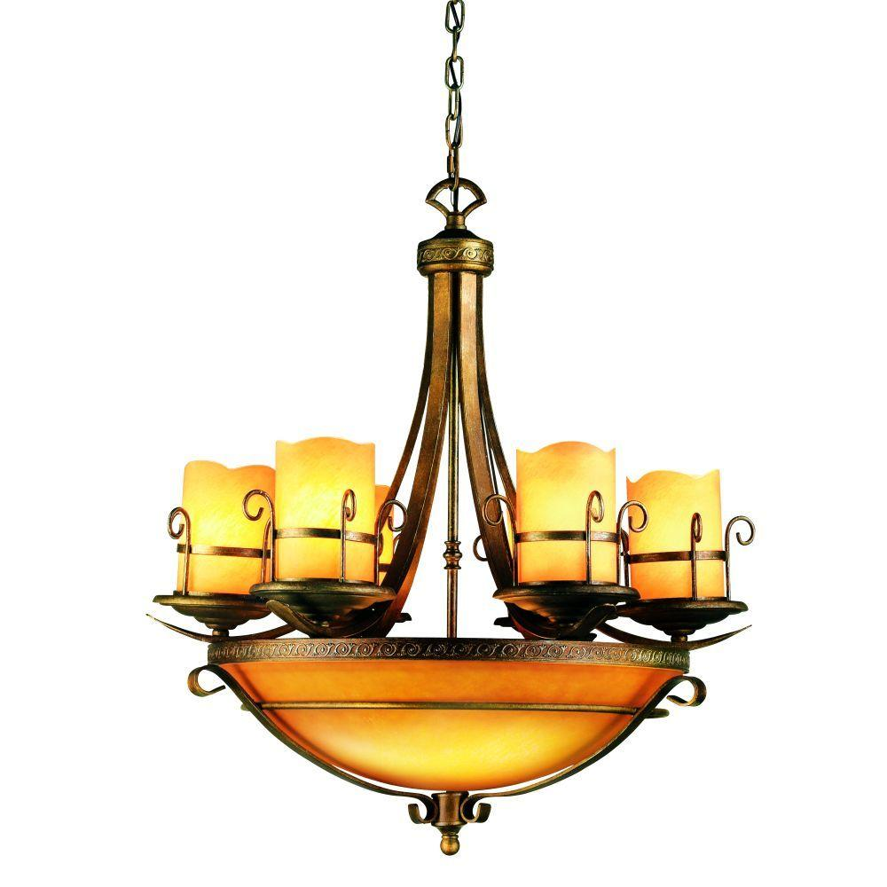 Eurofase Rustico Collection 9-Light Antique Gold Chandelier