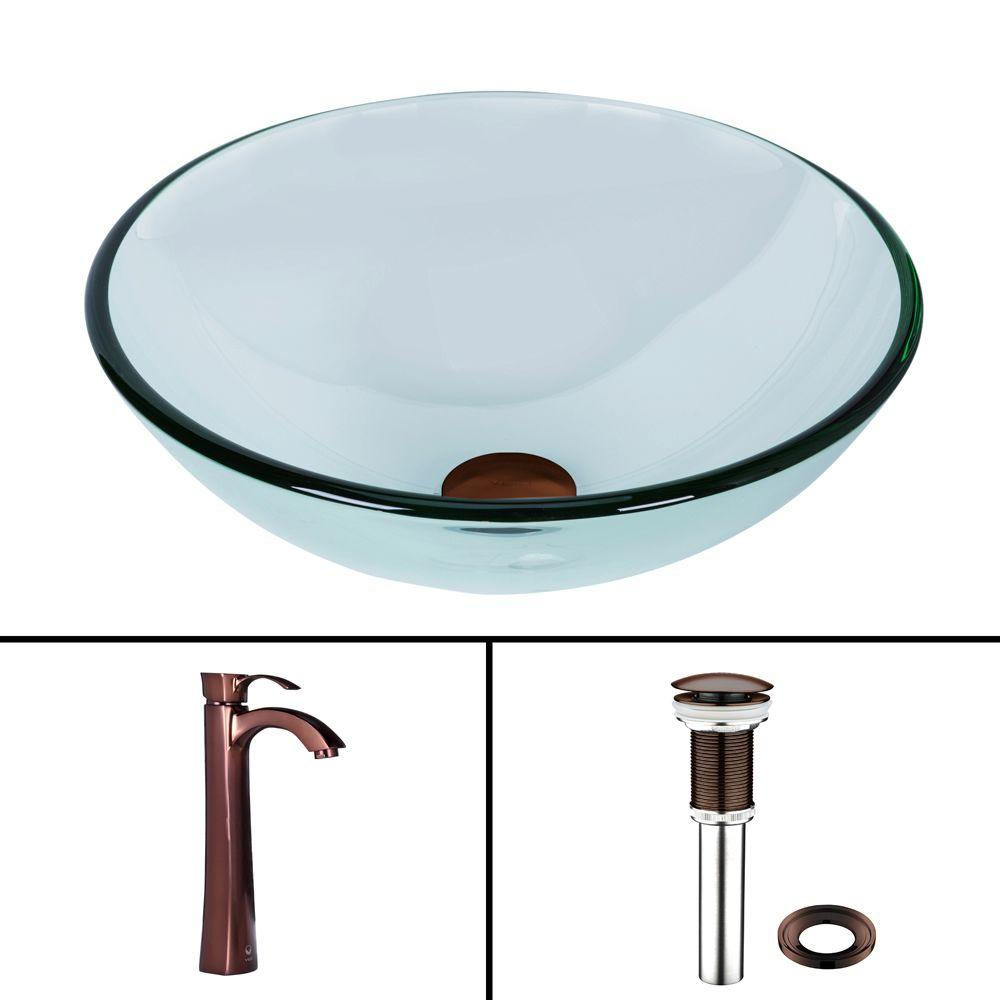Vigo Glass Vessel Sink in Crystalline and Otis Vessel Faucet Set in Oil Rubbed Bronze