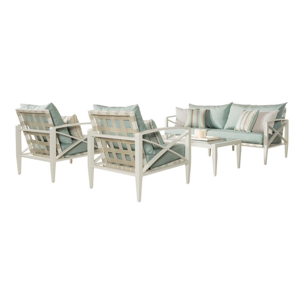 Knoxville Cream 4-Piece Aluminum Patio Seating Set with Bliss Blue Cushions