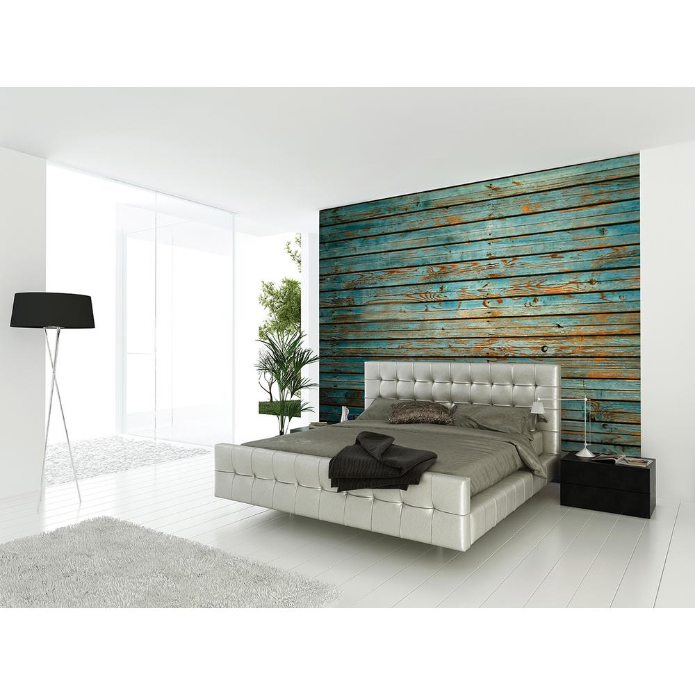 Brewster 118 in x 98 in washed timber wall mural for Brewster wall mural