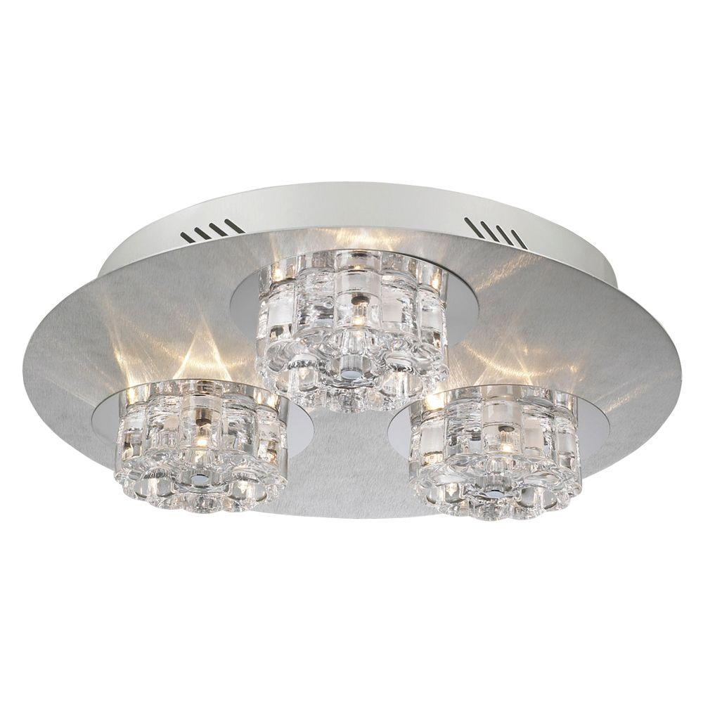 9-Light Ceiling Aluminum Flush Mount with Clear Glass
