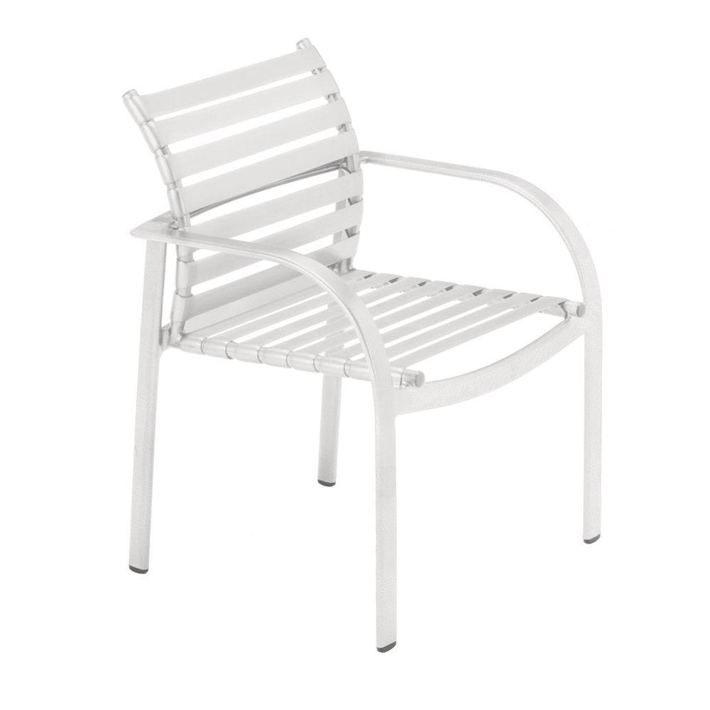 Tradewinds Scandia White Commercial Strap Patio Dining Chair (2-Pack)