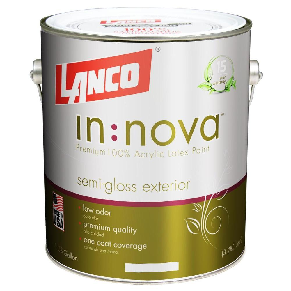 Lanco Innova 1 Gal. White and Pastel Semi-Gloss Exterior Paint-IN3055-4 -