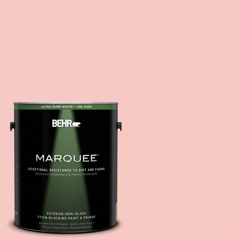 BEHR MARQUEE 1-gal. #160C-2 Flush Pink Semi-Gloss Enamel Exterior Paint-545001 -