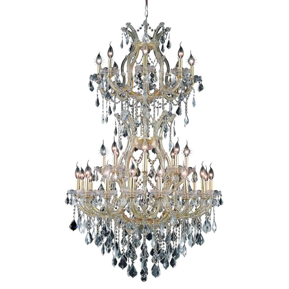 Elegant Lighting 34-Light Gold Chandelier with Clear Crystal