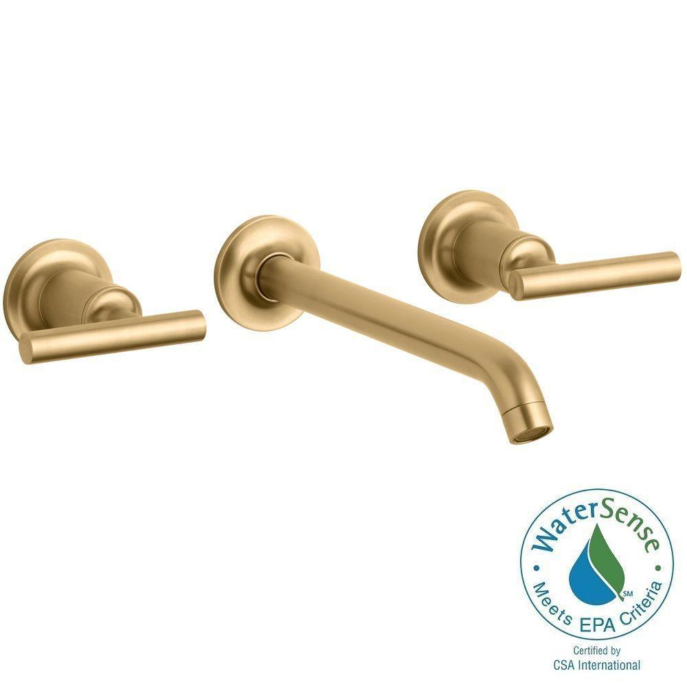 KOHLER Purist Wall-Mount 2-Handle Water-Saving Bathroom Faucet Trim Kit in Vibrant Modern Brushed Gold (Valve Not Included)