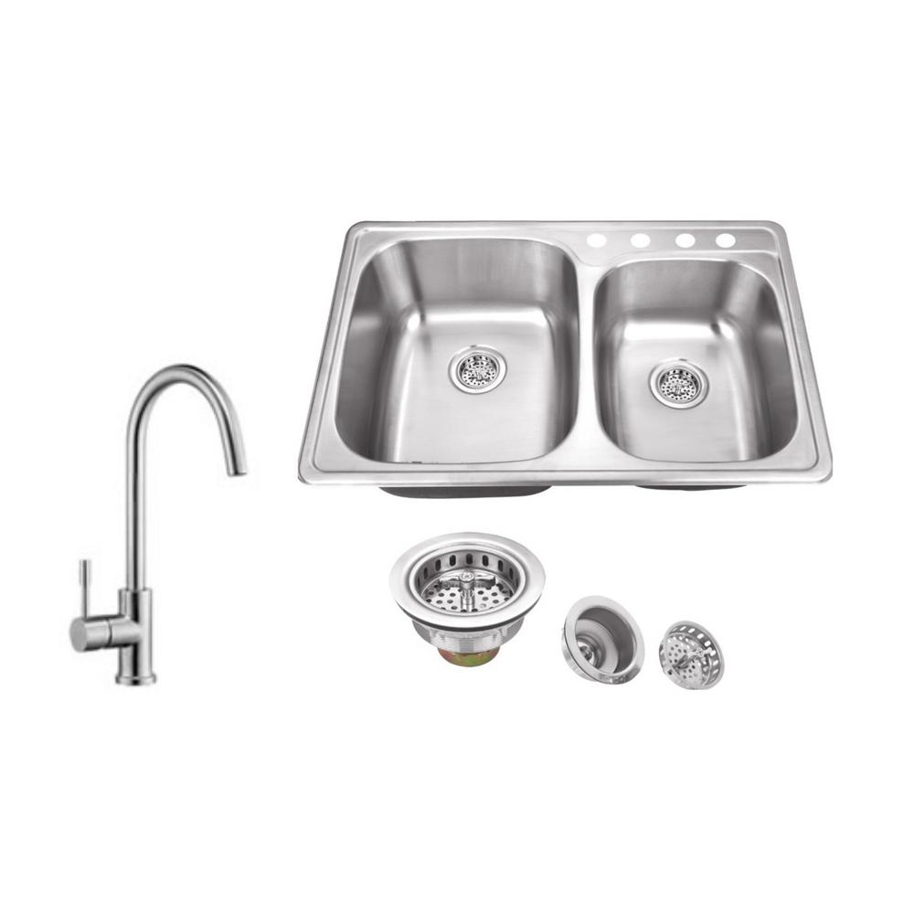 Drop-in 33 in. 4-Hole Stainless Steel Kitchen Sink in Brushed Stainless