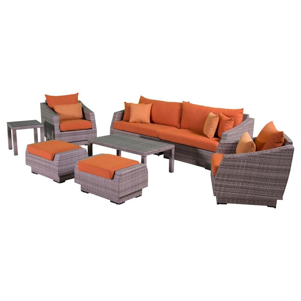 Cannes 8-Piece Patio Sofa and Club Chair Seating Group with Tikka