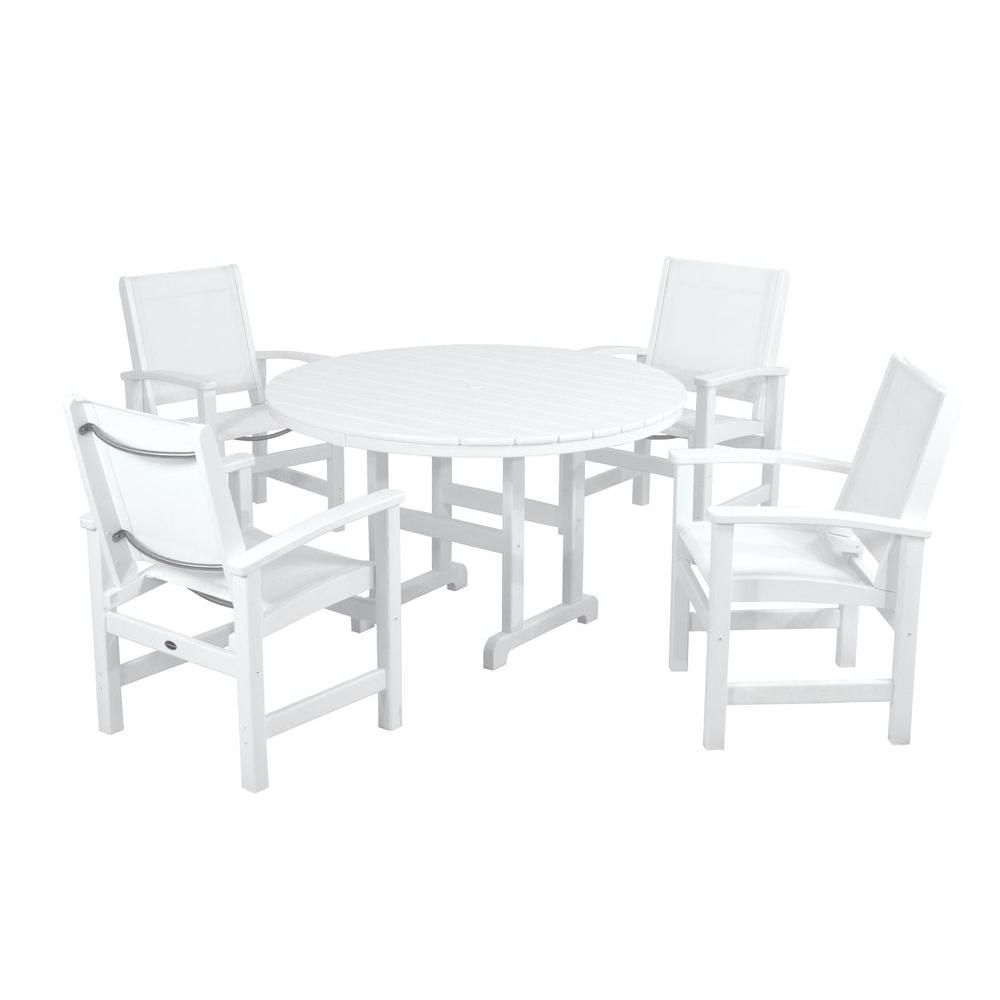 Polywood coastal white 5 piece patio dining set with white for Jardin 8 piece dining set