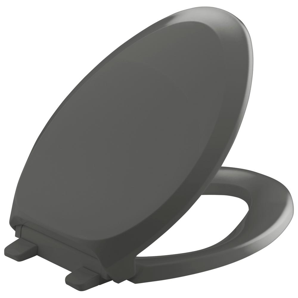 KOHLER French Curve Quiet-Close Elongated Toilet Seat with Grip-tight Bumpers in
