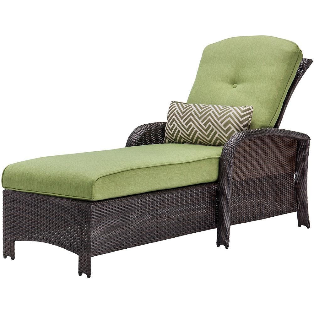Corolla Wicker Outdoor Chaise Lounge with Green Cushions