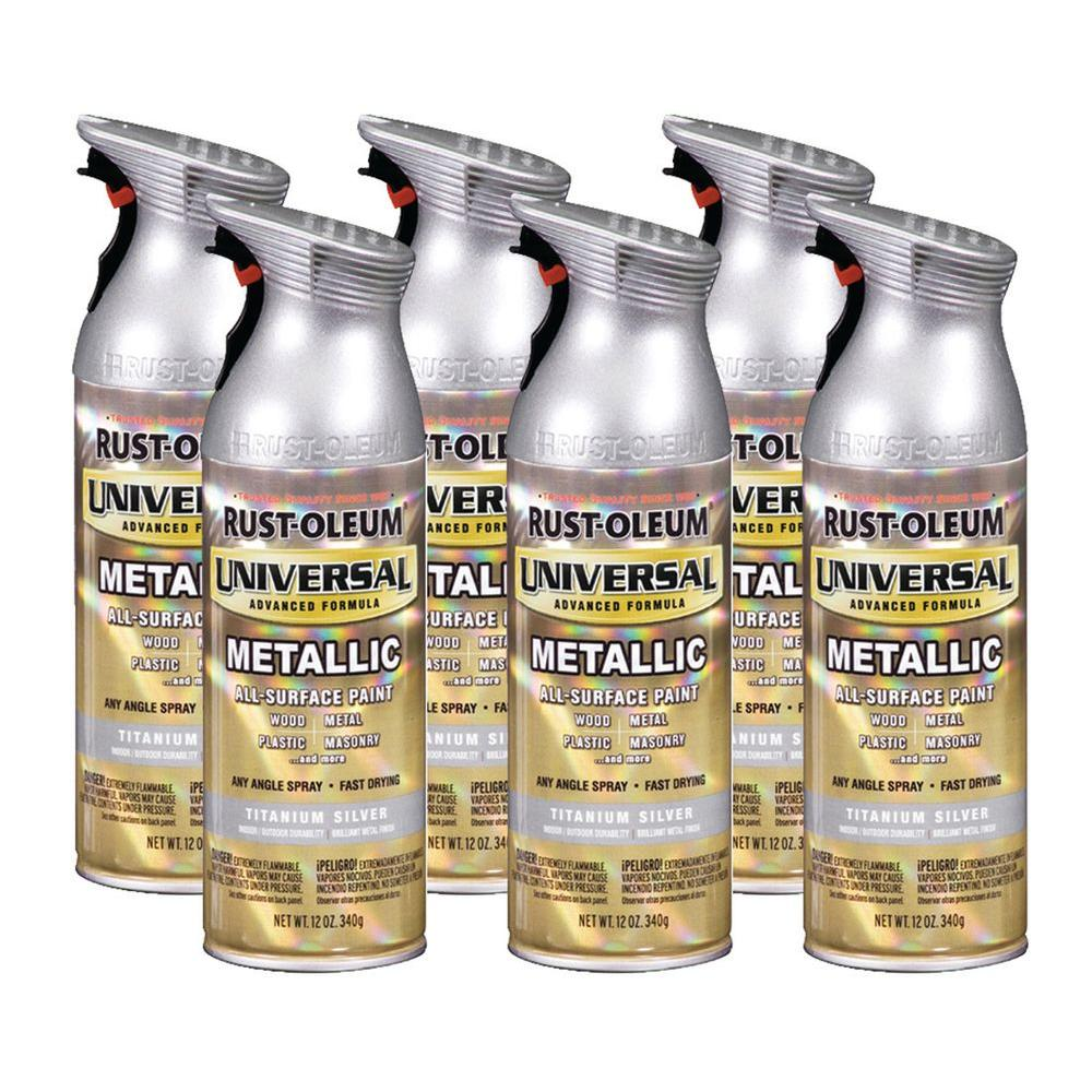 Rust-Oleum Universal 12 oz. Gloss Titanium Spray Paint (6-Pack)-DISCONTINUED