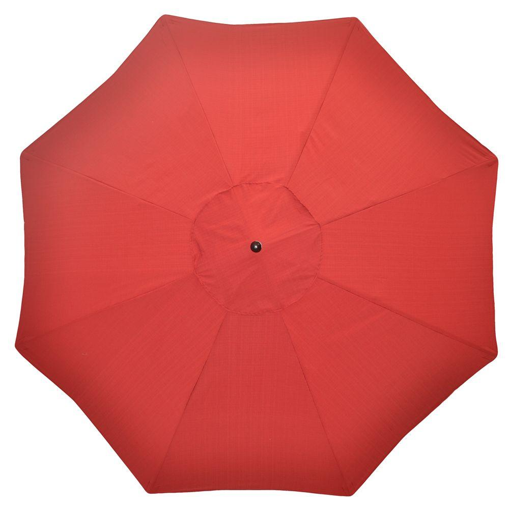 Plantation Patterns 11 ft. Patio Umbrella in Red Tweed