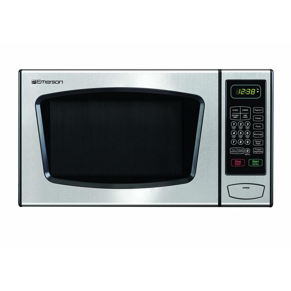 Emerson 0.9 cu. ft. Countertop Microwave Oven in Stainless Steel ...