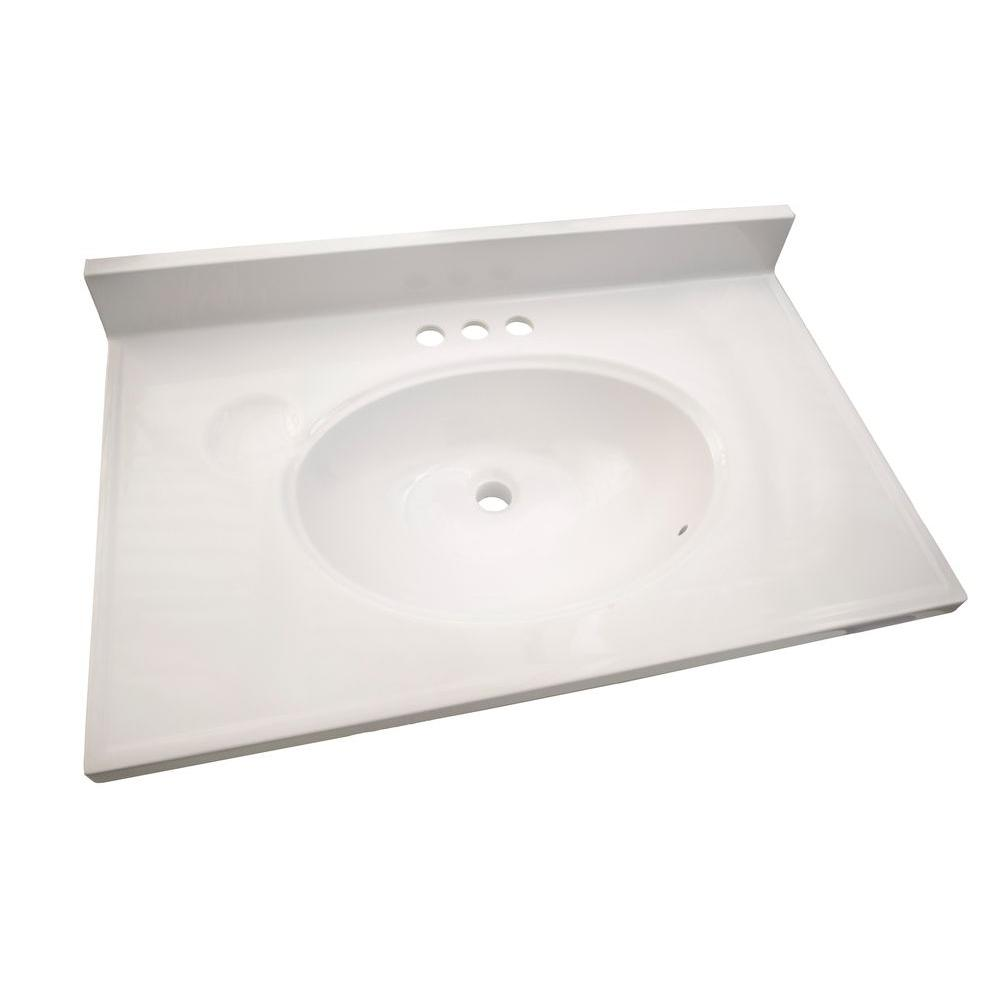Design House 31 in. W Cultured Marble Vanity Top in White