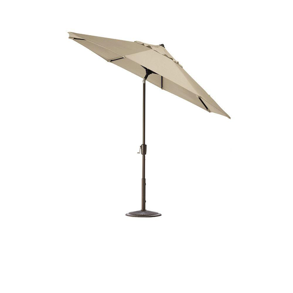 Home Decorators Collection 11 ft. Aluminum Auto-Tilt Patio Umbrella in Flax with Bronze Frame