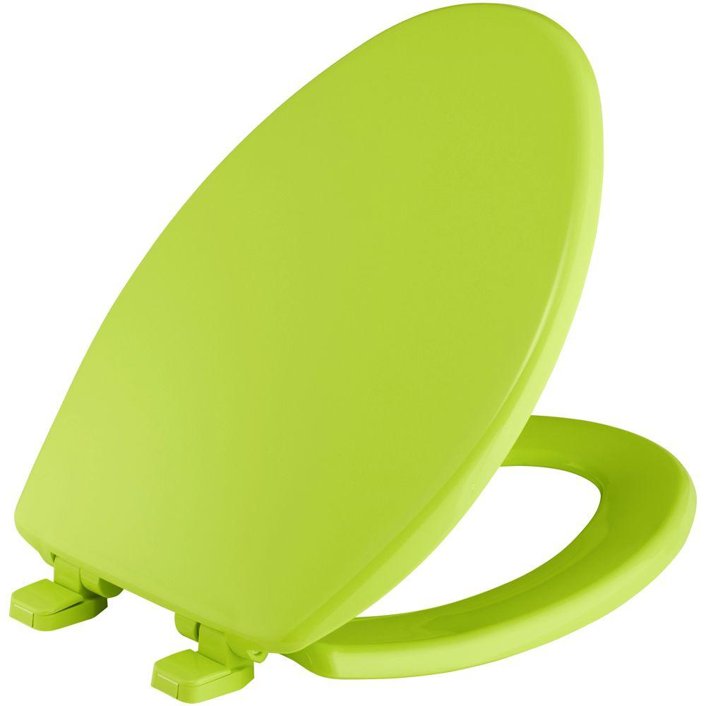 BEMIS Slow Close Elongated Close Front Toilet Seat in Margarita Lime