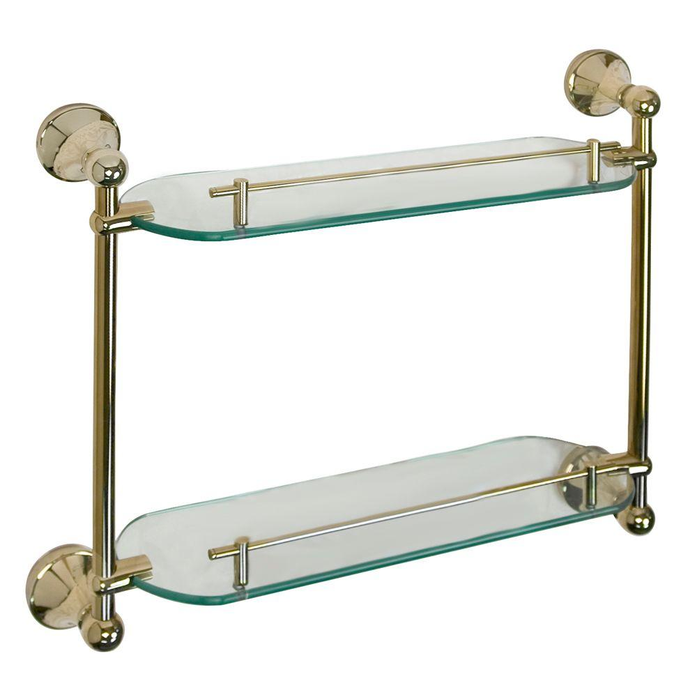 Barclay Products Kendall 19-1/4 in. W Double Shelf in Glass and Polished Brass