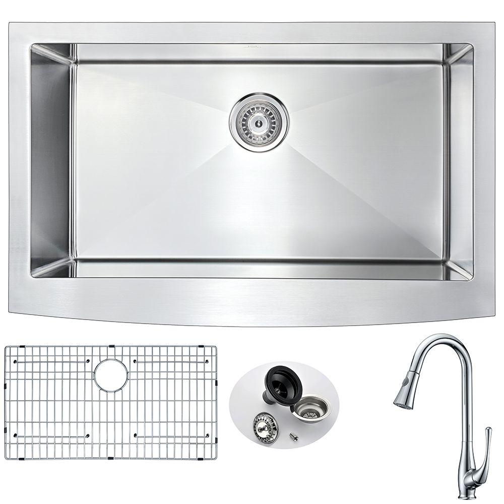 ELYSIAN Farmhouse Stainless Steel 32 in. 0-Hole Kitchen Sink and Faucet