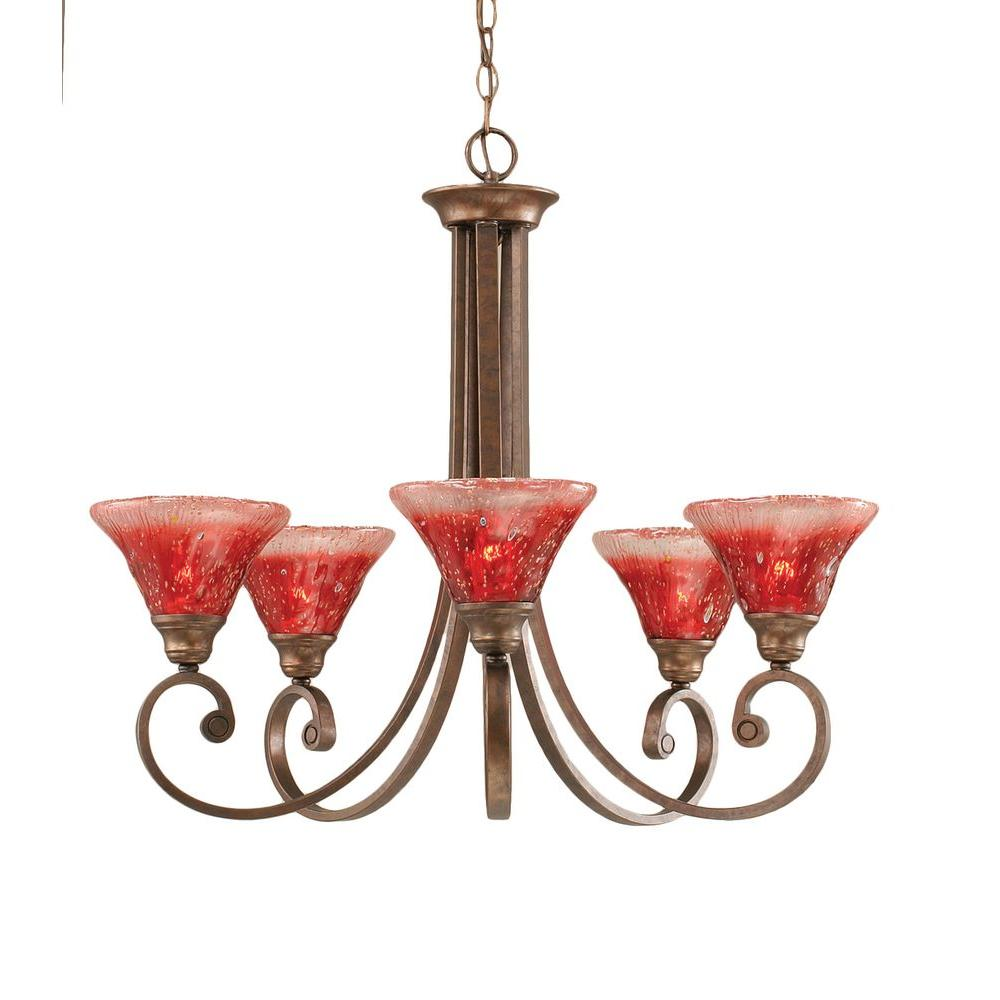 Concord 5-Light Bronze Chandelier with Raspberry Crystal Glass