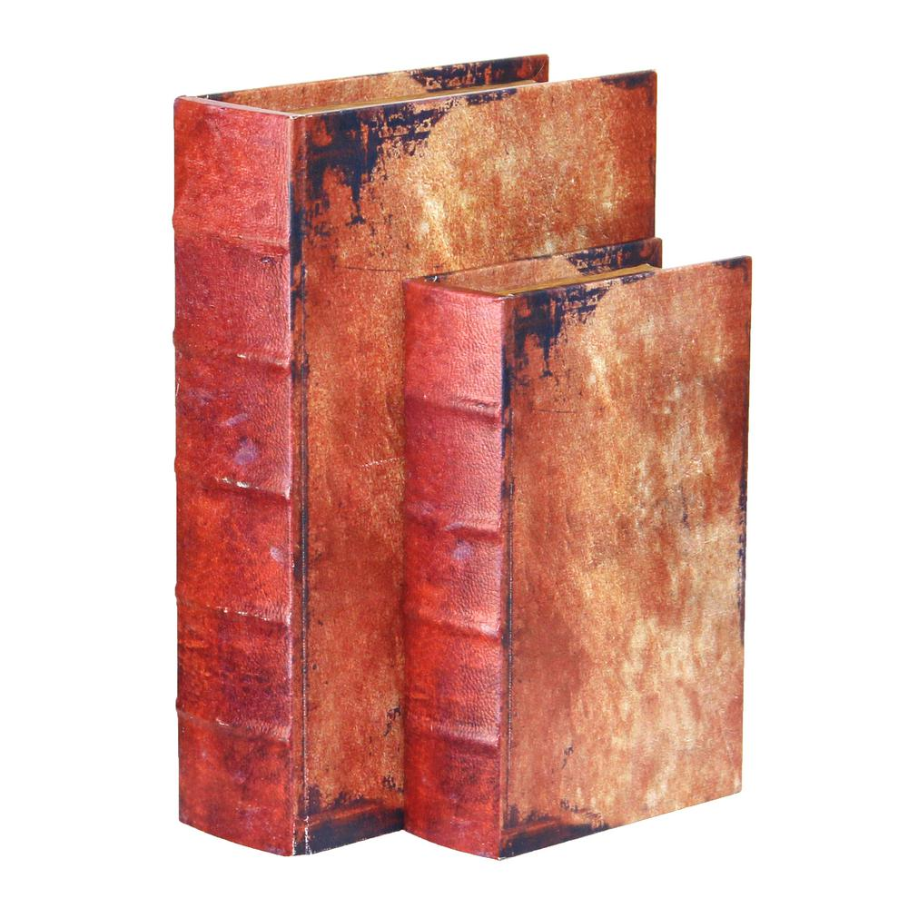 "12"" x 8"" x 3"" Wood Faux Leather Vintage Book Shaped"