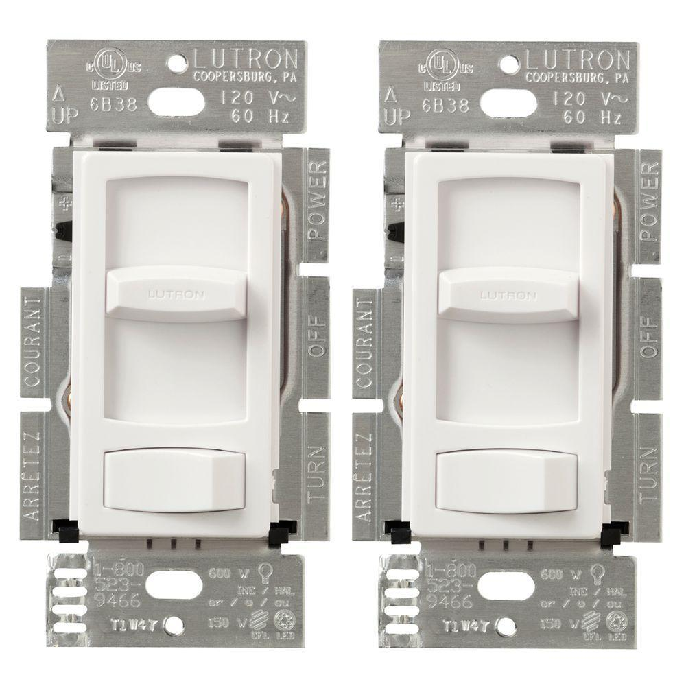 Skylark Contour 150-Watt Single-Pole/3-Way CFL-LED Dimmer - White (2-Pack)