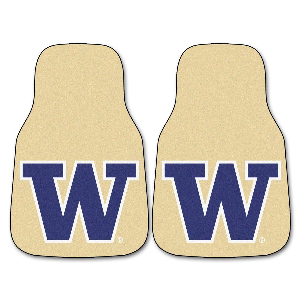 FANMATS University of Washington 18 in. x 27 in. 2-Piece Carpeted Car Mat Set