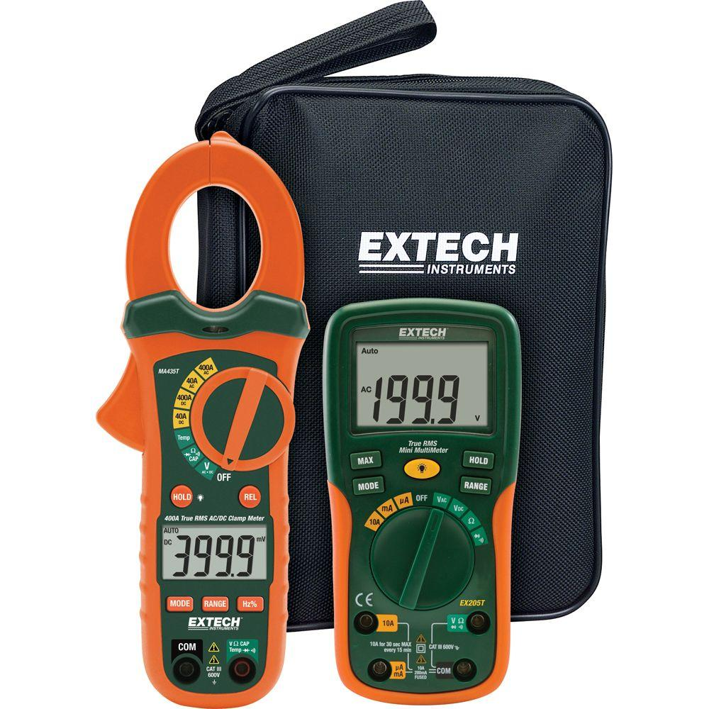 Extech Instruments Electrical Test Kit with True RMS AC/DC Clamp Meter