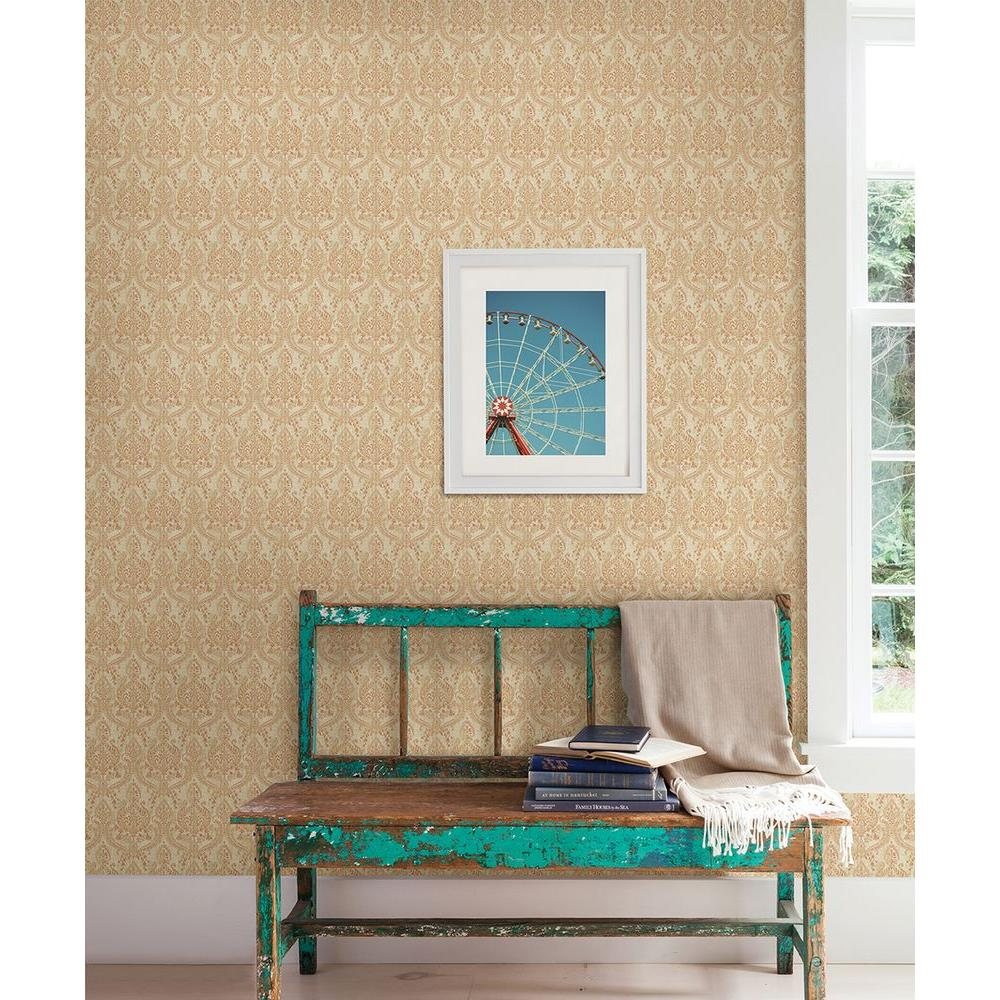A-Street 56 sq. ft. Waverly Rust Petite Damask Wallpaper-1014-001818 - The