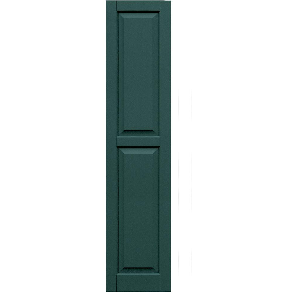 Winworks Wood Composite 15 in. x 68 in. Raised Panel Shutters Pair #633 Forest Green