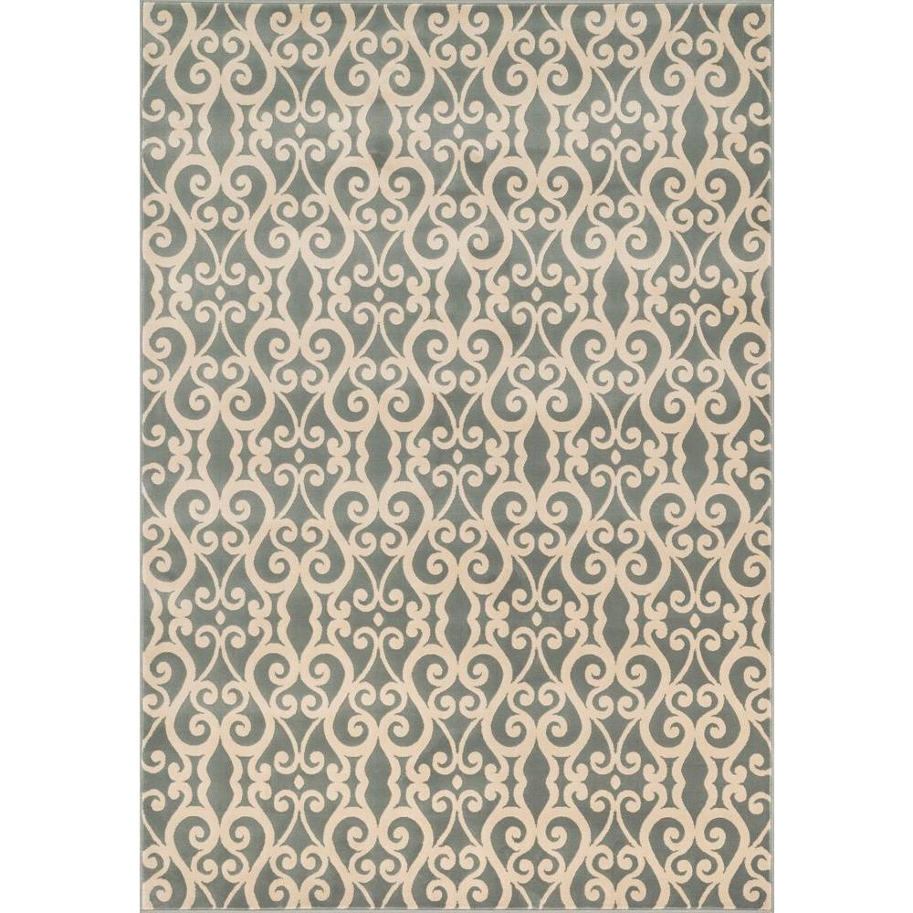 Shelton Lifestyle Collection Mist/Ivory 3 ft. 10 in. x 5 ft.