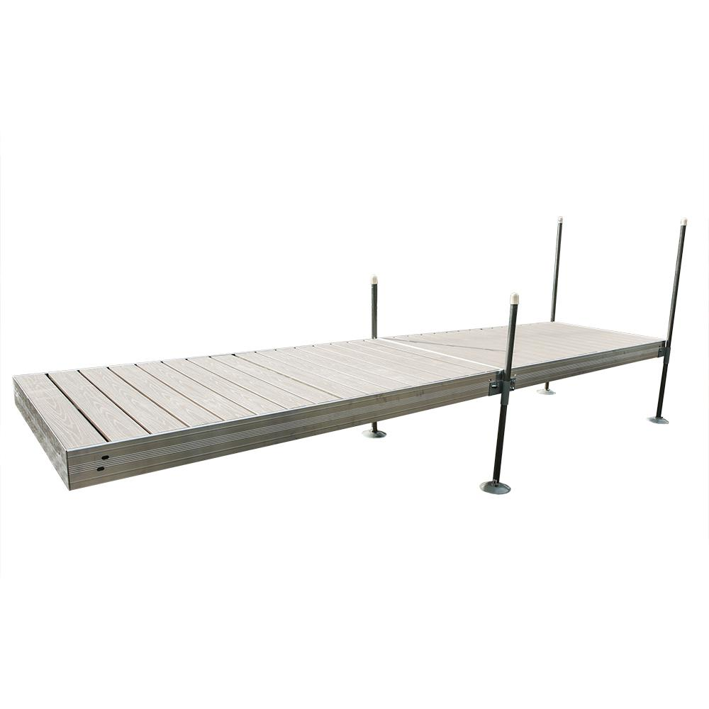 16 ft. L Straight Aluminum Frame with Decking Complete Dock Package