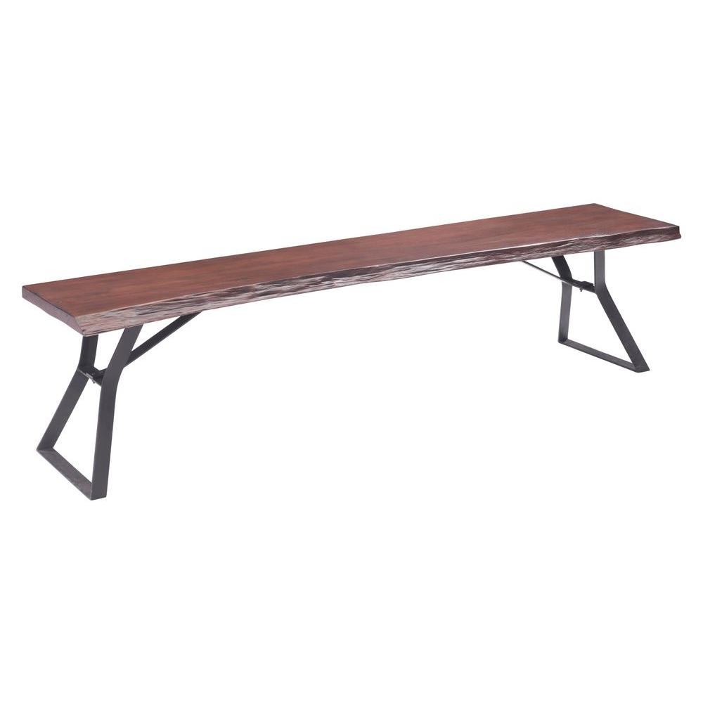 ZUO Omaha Bench in Distressed Cherry Oak-100429 - The Home Depot