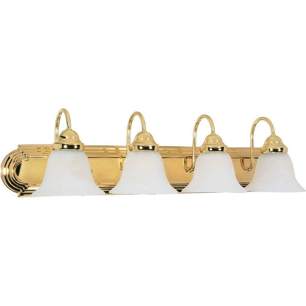 Sophrosyne 4-Light Polished Brass Bath Vanity Light with Alabaster Glass