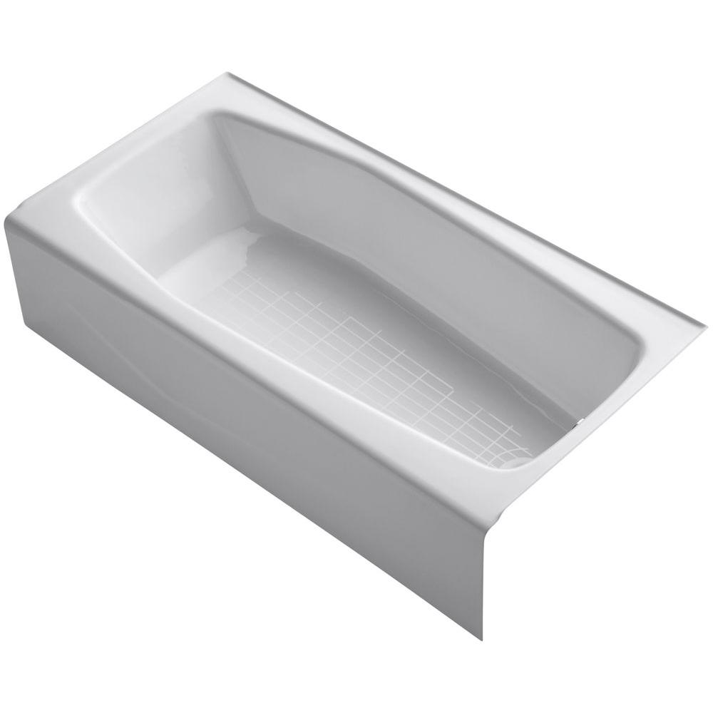 KOHLER Villager 5 ft. Cast Iron Right-Hand Drain Rectangular Apron-Front Non-Whirlpool Bathtub in White