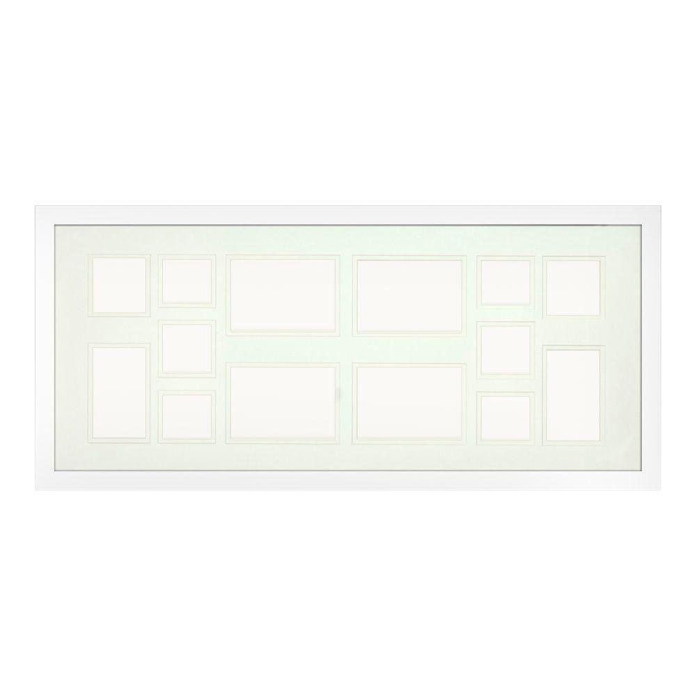 PTM Images 14-Opening Holds Multiple Photos Matted White Photo Collage Frame (Set of 2)