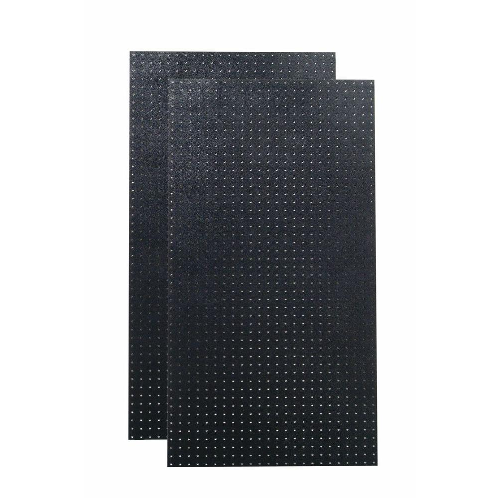 9/32 in. Hole Size (2) Black Polyethylene Matte Front Texture Pegboard