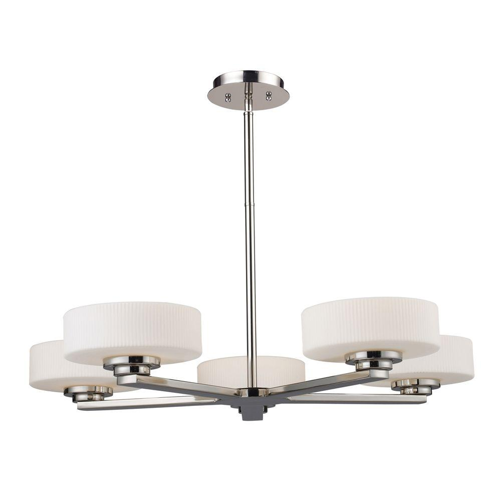 Titan Lighting 5-Light Ceiling-Mount Polished Nickel Chandelier-DISCONTINUED
