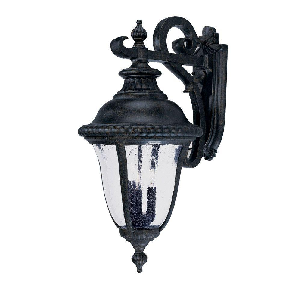 Acclaim Lighting Windsor Collection Wall-Mount 3-Light Outdoor Black Gold Light Fixture