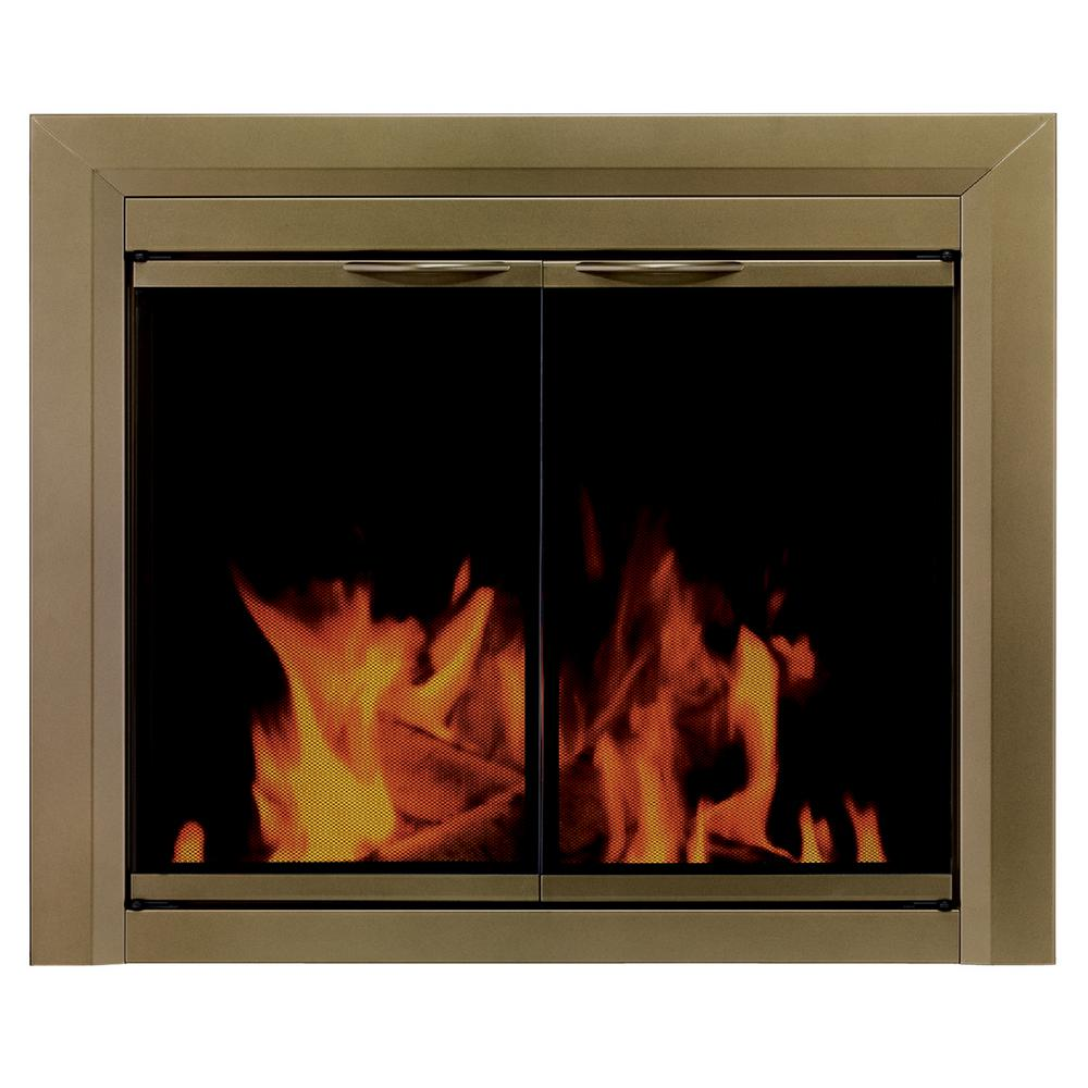 Pleasant Hearth Cahill Small Glass Fireplace Doors