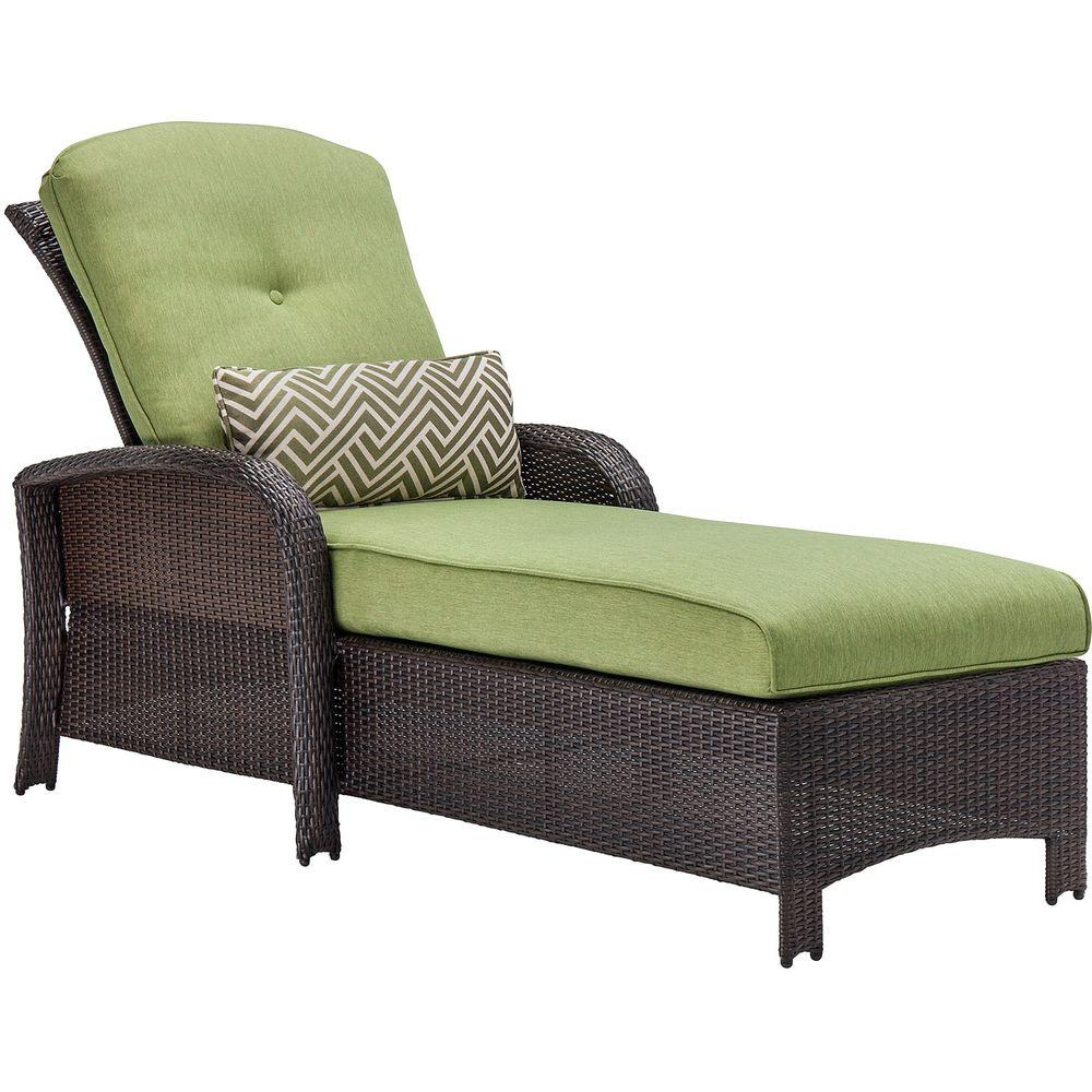 Hanover Strathmere All-Weather Wicker Patio Luxury Chaise with Cilantro Green