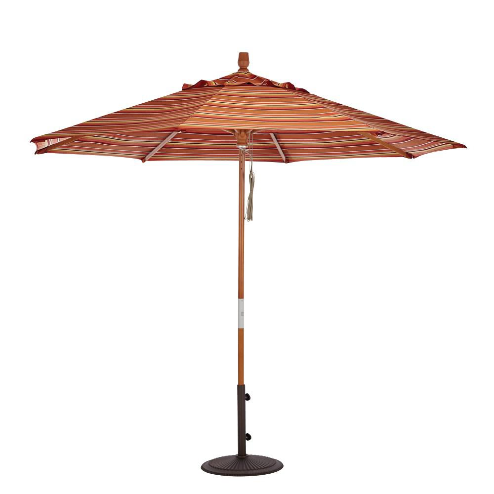 9 ft. Wood Pulley Open Patio Umbrella in Dolce Mango Sunbrella