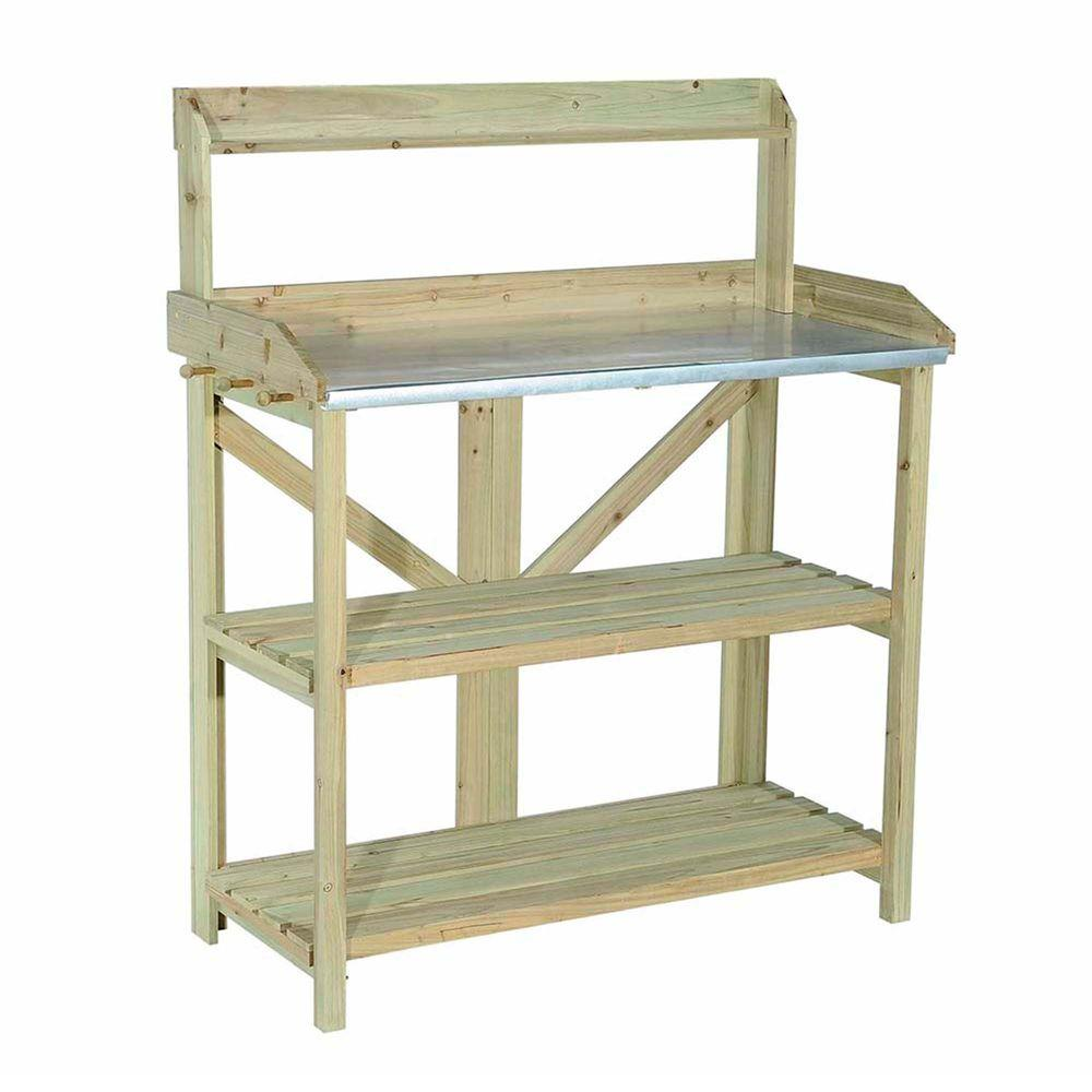 Sunjoy Church Wood 39 In X 47 5 In Natural Brown Wood Potting Bench 110402002 The Home Depot