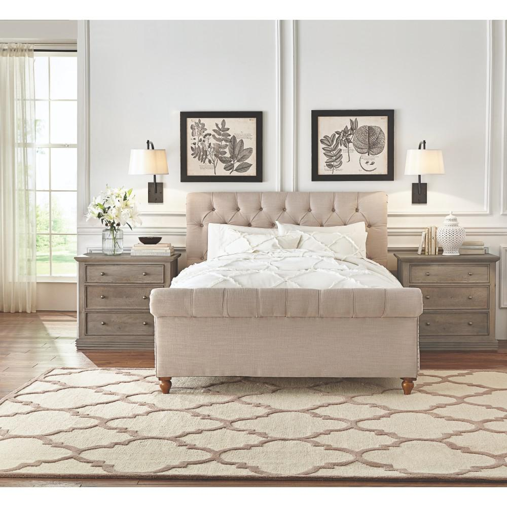 Home decorators collection gordon natural king sleigh bed 2309805400 the home depot Home furniture and mattress