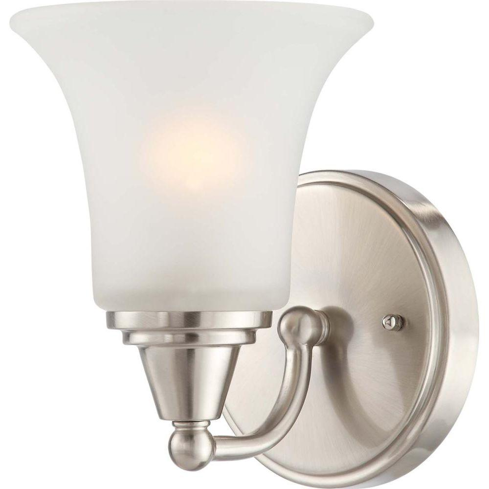 Glomar Dejo 1-Light Brushed Nickel Bath Vanity Light with Frosted Glass-HD-4141