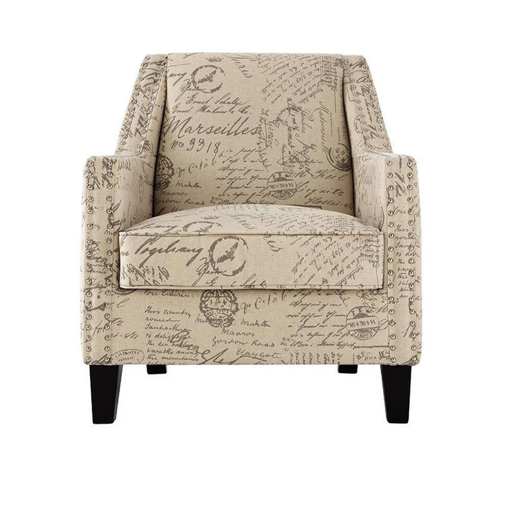 Tyler Ivory Linen Script Accent Chair