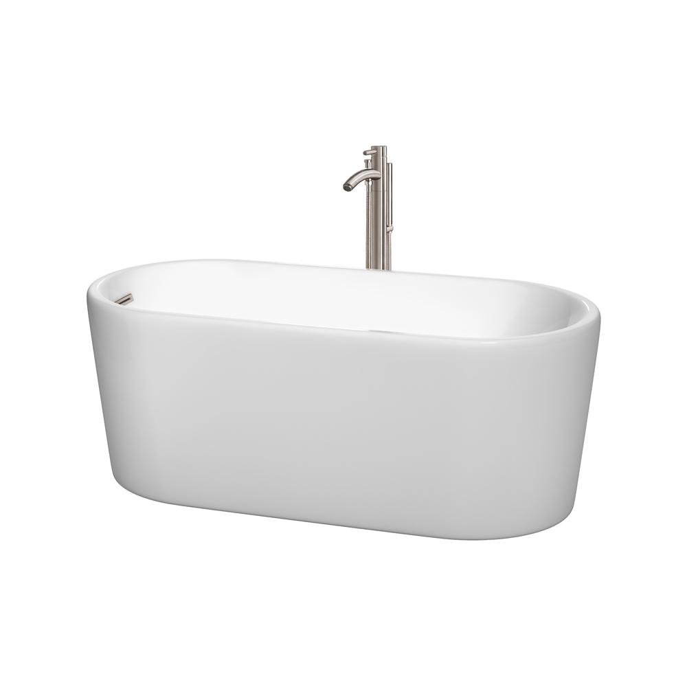 Wyndham Collection Ursula 4.9 ft. Acrylic Flatbottom Non-Whirlpool Bathtub in White with Brushed Nickel Trim and Faucet