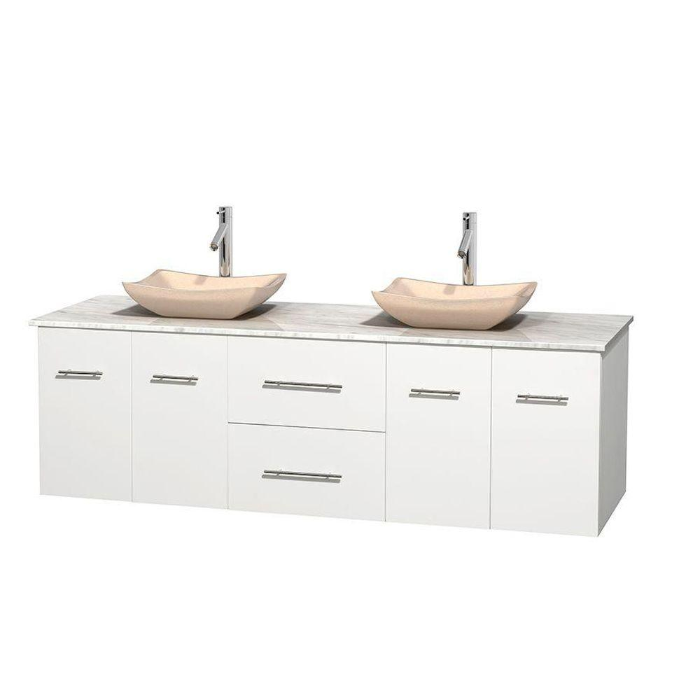 Wyndham Collection Centra 72 in. Double Vanity in White with Marble Vanity Top in Carrara White and Sinks